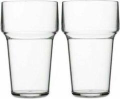 Transparante Merkloos / Sans marque 2x Bierglazen van kunststof 250 ml - Herbruikbare bierglazen - Onbreekbare camping/picknick glazen