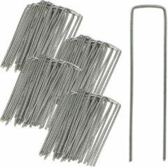 Zilveren Relaxdays 100 x gronddoekpennen - grondanker - haring - gronddoekhaak - grondhaken