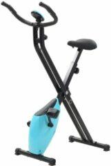 VidaXL Hometrainer X-bike magnetisch met hartslagmeter zwart en blauw