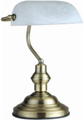 Bronze Globo Lighting Tafellamp Globo Antique - Metaal/Messing - Witte albaster glaskap