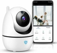 Witte Detepo Huisdier en Baby Wifi Beveiliging Camera – App met Luister en Spreek Functie – Full HD 2 Megapixel - Met Beweeg En Geluidsdetectie – Bewaak uw Huis, Hond of Baby