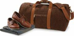 Quadra Canvas weekendtas/reistas donker bruin 45 liter - Vintage reistassen/weekendtassen - Tassen voor dames/heren/volwassenen