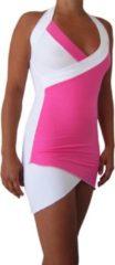 Tropical Beach Jewels Mini Jurk Zomer-Jurk Top Kwaliteit Lycra - Rayon/ Viscose Roze - Wit maat S, 36
