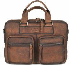 Sparwell weekender tas - Lederen laptoptas - Aktetas - Veel Vakjes! - 15,5 inch / 16 inch - Donker Bruin
