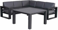 Donkergrijze Garden Impressions Plaza lounge dining set 4-delig - donker grijs