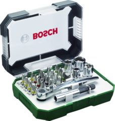 Bosch Accessories Promoline 2607017322 Bitset 26-delig Plat, Kruiskop Phillips, Kruiskop Pozidriv, Inbus, Torx Incl. ratel