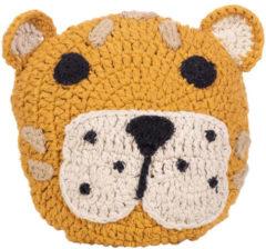 Oranje Kids Depot KidsDepot - Animal Kussen Luipaard - Decoratie Kinderkamer - Katoen