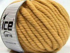 Ice yarns Wol breien met breinaalden maat 10 – 12 mm. – dikke licht bruine breiwol kopen pakket van 3 bollen garen 100 gram per bol 100% wol – breigaren van een fijne kwaliteit