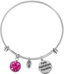 CO88 Collection Birthstone 8CB 12030 Stalen Armband met Hangers - Geboortesteen Juni met Swarovski Elements - One-size - Zilverkleurig / Fuchsia