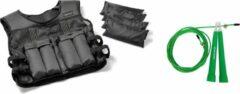 Zwarte Tunturi - Fitness Set - Gewichtvest - Weight Vest 10 kg - Verstelbaar - Springtouw Groen