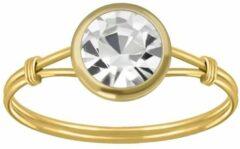 Zilveren WeLoveSilver Ringen dames | Gold plated ring met kleurloze kristal