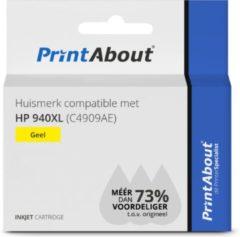 PrintAbout Huismerk compatible met HP 940XL (C4909AE) Inktcartridge Geel Hoge capaciteit