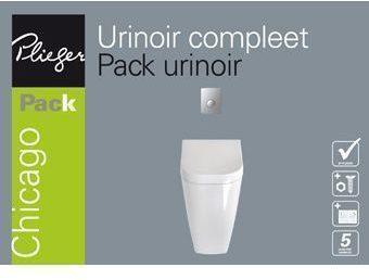 Afbeelding van Plieger B.v Plieger Chicago urinoir pack met deksel, spoelmechanisme en bedieningspaneel matchroom wit URINOIRPACK COMPLEET