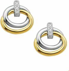 Zilveren The Jewelry Collection Oorknoppen Diamant 0.02 Ct. - Bicolor Goud (14 Krt.)