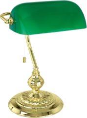 Tafellamp Halogeen E27 60 W Energielabel: Afhankelijk van de lamp EGLO Banker Traditional 90967 Messing, Groen