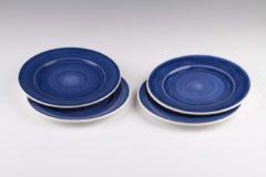 Dudson - Brasserie - Handbeschilderd - Plat bord 16cm - Blauw - set á 4