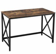 Bruine Songmics Bureau - Industriële Werktafel - Vintage Tafel - Bureaus - Industrieel - 115 x 60 x 76 cm