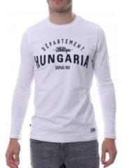 Witte T-Shirt Lange Mouw Hungaria