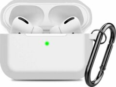 YONO Airpods Pro Case - Siliconen Hoesje met Clip - Wit