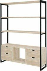 Bruine Merkloos / Sans marque Steigerhouten boekenkast - Industrieel 1 - steigerhout - 100x40x180 hoog