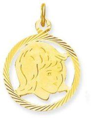 Glow Gouden Hanger Kinderkopje 'Meisje in rand' 15 x 15 mm 241.0077.01