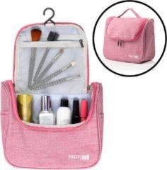 Roze Ophangbare Toilettas met Haak - Reis Toilet tas - Travel bag Organizer voor Vakantie / Kamperen & Reizen – Hangende Make up tas - Cosmetica Etui Tasje - Reistas Dames & Heren / Mannen en Vrouwen – Kleur ROSE - Decopatent®