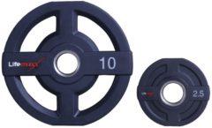 Zwarte Lifemaxx Polyurethaan Olympische halterschijf - Gewichten - 50mm - 10 kg