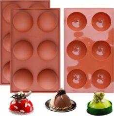Bruine FLOOQ - Siliconen bakvorm - half rond - bollen - Chocolade - Muffins - Taartjes - Fondant - Marsepein - BPA vrij - 6 stuks