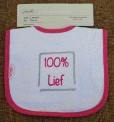 """Roze Funnies Witte slab met """"100% lief"""""""