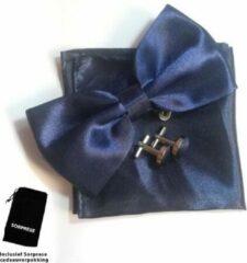 Vlinderstrik inclusief pochette en manchetknopen - Donkerblauw - Sorprese - luxe - vlinderdas - strik - strikje - pochet - heren
