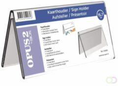 KAARTHOUDER OPUS 2 V-STANDAARD 7X15CM ACRYL - ideaal voor naampresentatie op bureaus, balies en voor vergaderingen - tweezijdig leesbaar - inclusief blanco kaartje - hoogwaardig transparant acrylaat