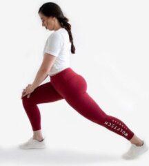 Donkerrode Wolftech Gymwear Sportlegging Dames High Waist - Rood / Bordeaux - L - Met Groot Logo - Sportkleding Dames