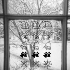 Zwarte Namenenzo Sticker Raamsticker kerst A4 - Kerstmuts, Kersttak | Kerst stickers | kerststickers raam | Gratis Verzending!