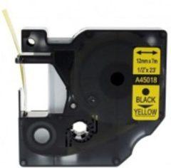 Gele Rillstab Labeltape Dymo Compatible 45018 D1 12mmx7m zwart op geel