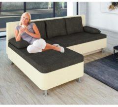 Ecksofa Bettsofa Schlafsofa Sofa Couch mit Schlaffunktion 196 x 70 x 150 cm 'Stylosa Weiß' VCM Weiss, Grau