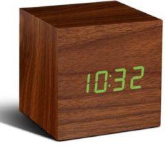 Gingko Wekker - Alarmklok Cube Click Clock walnoot - groene LED
