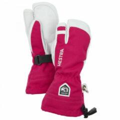 Hestra - Kid's Army Leather Heli Ski 3 Finger - Handschoenen maat 5, roze/grijs
