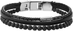 Fossil JF03620040 Armband Vintage Casual staal-leder zilverkleurig-zwart 18-19,5 cm