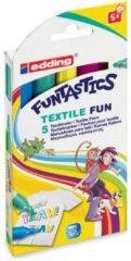 Lichtblauwe Edding Textielstiften voor kinderen - 5 kleuren Funtastics - Ronde punt van 2-3 mm