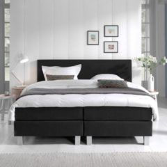 Zwarte Dreamhouse Bedding Boxspring Sleepwell - Leather look - 140x200 - GRATIS TOPPER