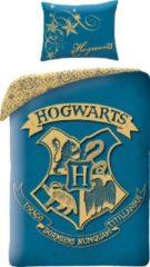 Blauwe Harry Potter Dekbedovertrek Zweinstein - Eenpersoons - 140 x 200 cm - Katoen