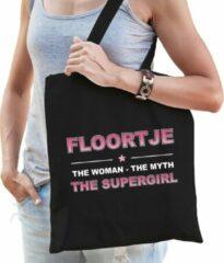 Zwarte Bellatio Decorations Naam cadeau Floortje - The woman, The myth the supergirl katoenen tas - Boodschappentas verjaardag/ moeder/ collega/ vriendin