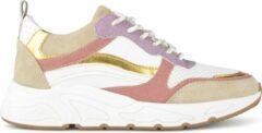 PS Poelman Carocel Dames Suède Leren Mix Runner Sneakers - Beige Wit Glitter Lila Rose Multi - Maat 38