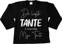 Witte Livingstickers T-shirt lange mouw-De liefste tante is toevallig mijn tante-Maat 56