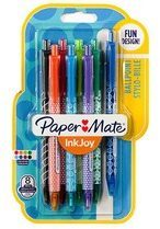 Lichtblauwe Papermate InkJoy 100 RT Multi kleuren Clip-on retractable ballpoint pen Medium 8 stuk(s)