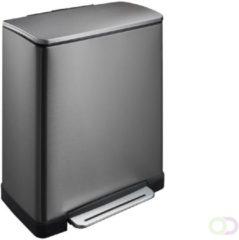 Mattiussi Ecologia Afvalemmer stapelbaar 35 liter grijs met oranje deksel | Handvat | EasyMax