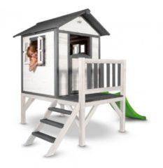 Naturelkleurige Sunny Lodge XL Speelhuis Wit/Grijs / FSC 100% hout / Prefab panelen / 3 jaar garantie!