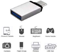 Zilveren Ascromy USB-C 3.1 naar USB 3.0 A Female Adapter met OTG functie voor onder andere Macbook en smartphones