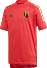 Donkergrijze Adidas uefa euro 2020 rbfa belgie trainingsshirt 20/22 rood kinderen