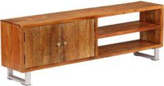 Bruine VidaXL Tv-meubel met bewerkte deuren 140x30x40 cm massief hout